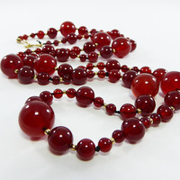 Carnelian Beads Necklace Varied Sized Round Ball Beads Gold Filled Spacer Beads G.F. Hook Clasp Vintage 1970s Natural Gemstone Beaded style
