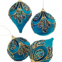 Holiday Lane Set of 4 Peacock Ball & Drop Ornaments