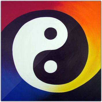 Balance - Metal Print of Rainbow Yin Yang Acrylic Paint Fine Art