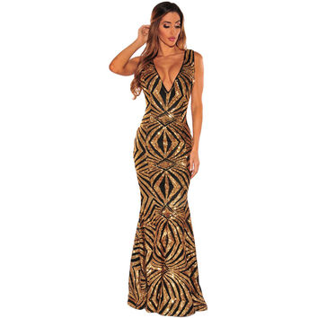Black Gold Sequins Gown LAVELIQ