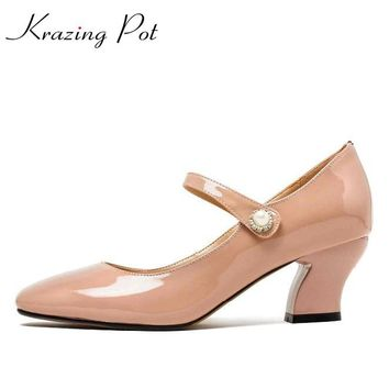 2017 Shoes women fashion patent genuine leather square toe preppy style high heel buckle pumps high quality mary jane shoes L33