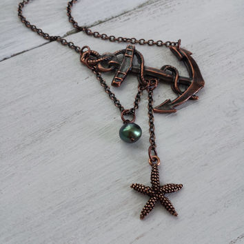 Lost at Sea Necklace by SBC, Antique Copper Anchor, Copper Starfish, AAA Peacock FW Pearl, Sideways Anchor, Starfish Pearl Necklace