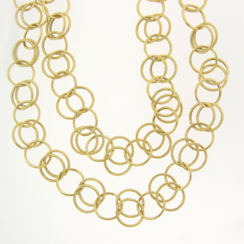 """14K SOLID Gold 38"""" Chain - 10mm Double Links - Layering Chain, Can Be Doubled"""