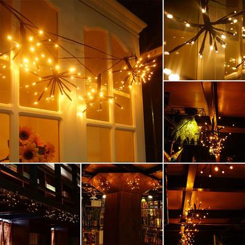2m/6.6ft Flexible 100-LED String Light Bendable Warm White Lamp with 8 Modes Memory Function Waterproof Decoration for Garden Home Patio Lawn Wedding Christmas Festival Party EU Plug AC 220V