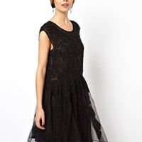 ASOS BLACK Amazing Embellished Smock Dress