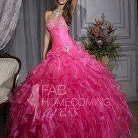 2013 Style Ball Gown Sweetheart Beading Sleeveless Floor-length Organza Prom Dresses / Evening Dresses (SZ0245413) - FabHomecomingDress.com
