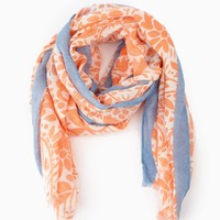 Orange Floral Print Blue Colorblock Scarf