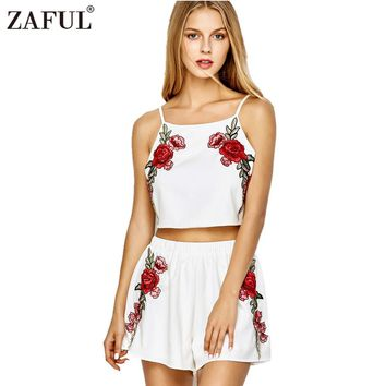 ZAFUL 2017 Women Suits Sexy Rose Floral Embroidered Bowknot Sleeveless Tops Summer Beach Playsuit  Girls Short Cropped Top Sets