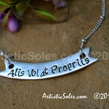 Alis Volat Propriis Banner Necklace
