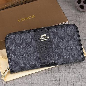 Perfect Coach Women Leather Zipper Wallet Purse