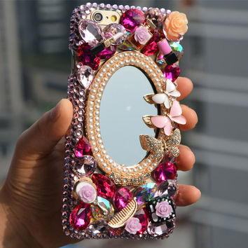 fashion luxury diamond bling mirror For Apple Iphone 7 7plus 6 6splus 5 5s 5c 4 4s 3D rhinestone case quality crystal phone Case