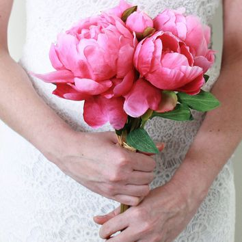 "Peony Silk Wedding Bouquet in Hot Pink - 14"" Tall"