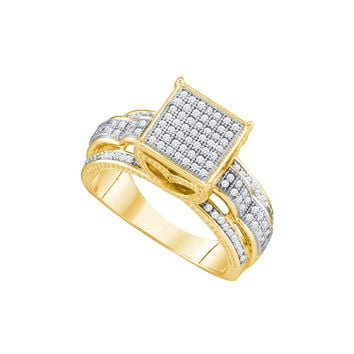 10kt Yellow Gold Womens Round Diamond Elevated Square Cluster Bridal Wedding Engagement Ring 3/8 Cttw 64821