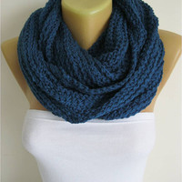 ON SALE - Chunky Knit Scarf , crochet infinity scarf, knitted scarf, christmas gift- for her -Fashion accessories
