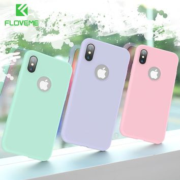 FLOVEME Soft Silicone Case For iPhone X 6 6s Luxury Candy Color Phone Cases For iPhone 7 8 6 6s Plus Cover Show Logo Capinhas