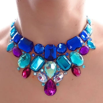 Blue and Purple Rhinestone Bib Necklace, Blue Statement Necklace, Jeweled Bib Necklace, Bridesmaid Statement Necklace
