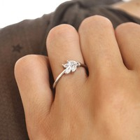 Dainty Crystal Floral Baguette Ring