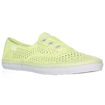 Keds Rookie Perforated Laceless Fashion Sneakers - Neon Yellow