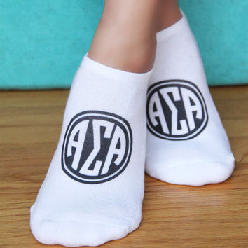 Digitally Printed Sorority Greek Letter Circle Monogram on No Show Socks - Sold as a set of 3 pairs - Choose Your Designs