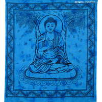 Queen Blue Indian Buddha Tie Dye Tapestry Wall Hanging on RoyalFurnish.com