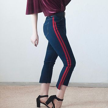 High waist jeans women skinny flare pants side stripe Spliced jeans moustache street ankle-length pants elegant plus size p45