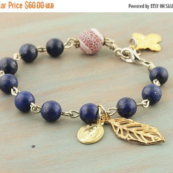On Sale Lapis Rosary Bracelet with Matte Dragon Vein Agate Pater Golden Five Way Cross Miraculous Medal Leaf Charm Natural Stone Prayer Bead