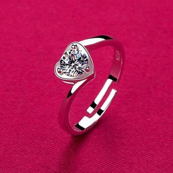 925 Silver Loving Couple Ring Opening Rhinestone Heart Shaped Ring Silver Jewelry Adjustable Valentine's Day Gift