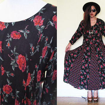 Vintage oversized red black rose floral flower pleated wrinkle maxi patchwork tent dress hippie boho bohemian festival