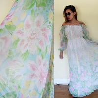 Vintage 70's off shoulder bell sleeves pleated floral flower wedding hippie boho bohemian white green maxi dress