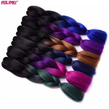 Feilimei Ombre Braiding Hair Extensions Synthetic Japanese Fiber Jumbo Braids 100g/pc 24Inch Green/Gray/Purple/Blue/Black Hair