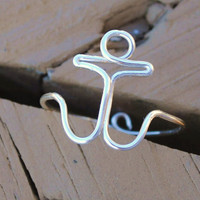 Wire Wrapped Adjustable Anchor Ring by KissMeKrafty on Etsy