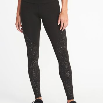 High-Rise Foil-Print Compression Leggings for Women | Old Navy