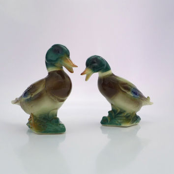 Royal Copley Ducks, Pair Duck Figures, Duck Figurines, Ceramic Figural Ducks, Two Mallard Ducks, 1950's Home Decor