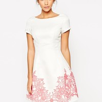 Chi Chi London Structured Prom Skater Dress With Floral Hem