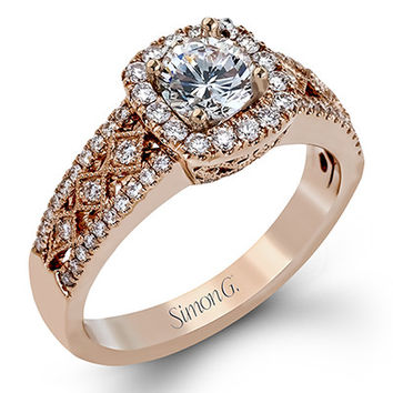 Simon G 18K Rose Gold Filigree Vintage Style Halo Engagement Ring Featuring 0.46 Carat Diamonds