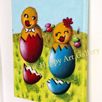 Easter chick, easter eggs, Easter chicken, nursery, easter decor, Chicken original painting, animal paintings, babys room decor, nursery art