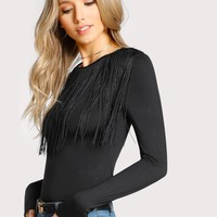 Fringe Detail Solid T-shirt