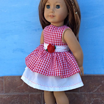18 Inch Doll Dress, Red Gingham Doll Dress, Summer Doll Clothes, Fits 18 Inch Dolls such as American Girl Dolls