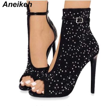Aneikeh Crystal Women Pumps High Heels Brand Design Sexy Gladiator High Heels Women Rhinestone Buckle Strap Party Shoes
