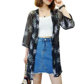 Blusas Mujer De Moda 2017 New Women Summer Chiffon Blouse Pinted Casual Kimono Cardigan Long Blouses Sunscreen Tops Plus Size
