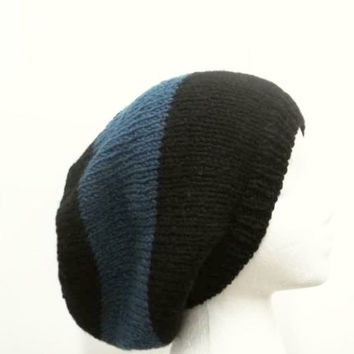 Blue Slouchy beanie hat, large stripe for men or women  5222