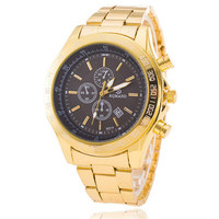 Mens Classic Business Sports Gold Band Strap Watch Best Gift watches-449