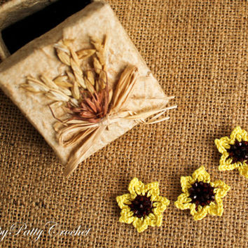 Mini Crochet Flowers - Crochet Sunflower - Sunflower Ring Applique - Hair Accessory Applique - Sunflower Earring Applique - 3PCS - F101