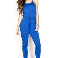 Chelsea Royal Blue Strappy Casual Slouchy Jumpsuit with Pockets