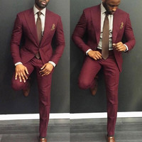 Classy Burgundy Wedding Mens Suits Slim Fit Bridegroom Tuxedos For Men Two Pieces Groomsmen Suit Cheap Formal Business Jackets