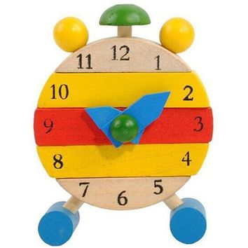 DCCKU7Q Handmade Wooden Educational Toys for Children Learning Time Clock Toys for Kids Girls Boys
