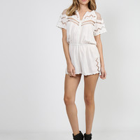 Netted Short Sleeve Romper - White - Medium