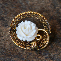 Vintage CARL ART Brooch Carved Bone Rose 1/20 12K Yellow Gold Filled Filigree Circle Mid Century 1960's // Vintage Designer Costume Jewelry