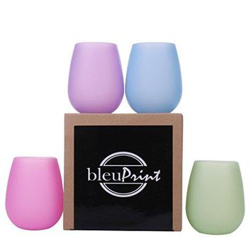 Silicone Wine Glasses Stemless Outdoor  Silicone Wine Cups  Portable Wine Glasses Kids Cups Set of 4 Rubber  Unbreakable Camping Beach Pool Party  Dishwasher Safe Cocktails Coffee Dessert