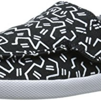 Sanuk Kids Sideline Boys Funk Sidewalk Surfer Shoe (Toddler/Little Kid/Big Kid), Black/White Boogie, 13 M US Little Kid